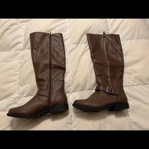 High brown boots